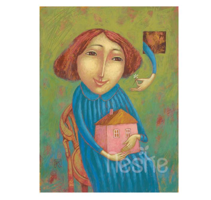 Babaház, akril festmény