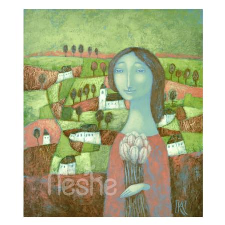 Séta a dombra, akril festmény