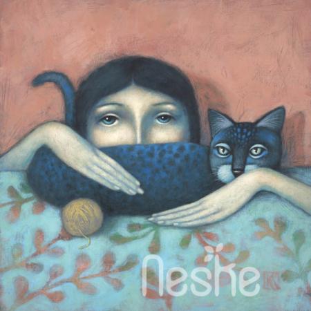 Kék kandúr akril festmény